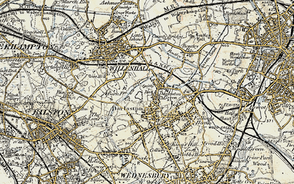 Old map of Darlaston in 1902