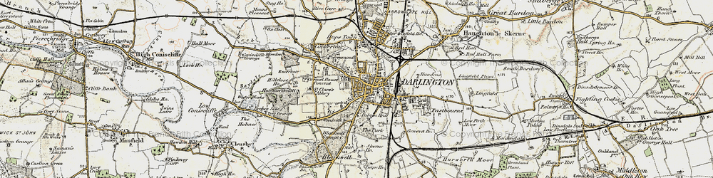 Old map of Darlington in 1903-1904