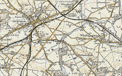Old map of Whittington Heath in 1902