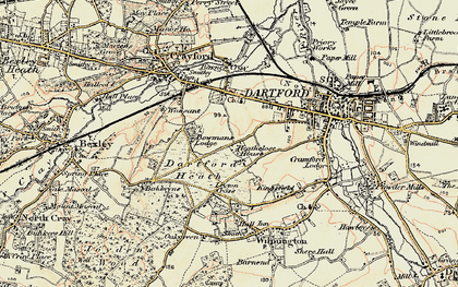 Old map of Dartford in 1897-1898