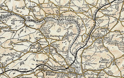 Old map of Dartington in 1899