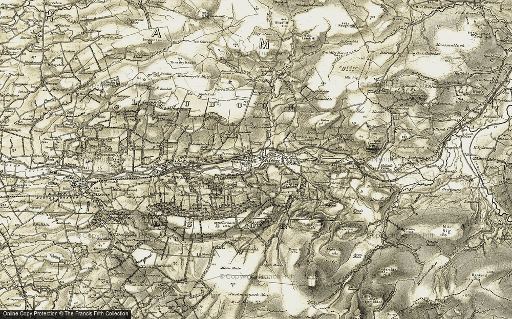 Old Map of Historic Map covering Auchenbart in 1904-1905