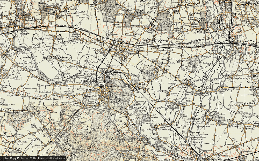 Old Map of Historic Map covering Windsor Castle in 1897-1909