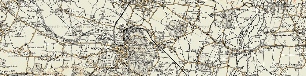 Old map of Romney Lock in 1897-1909