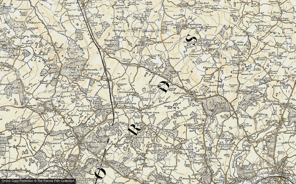 Old Map of Datchworth, 1898-1899 in 1898-1899