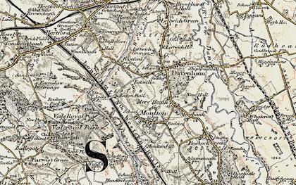 Old map of Davenham in 1902-1903
