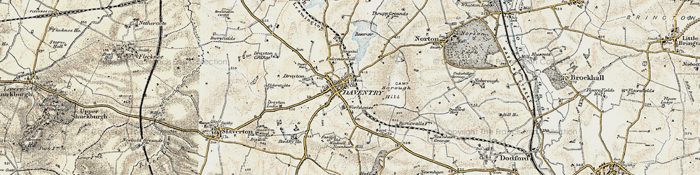 Old map of Daventry in 1898-1901