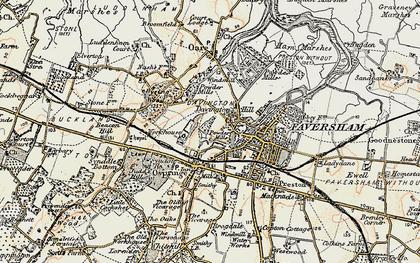 Old map of Davington in 1897-1898