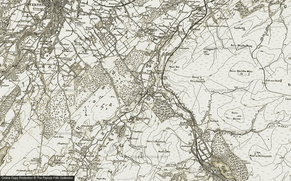 Old Map of Historic Map covering Auchnahillin in 1908-1912