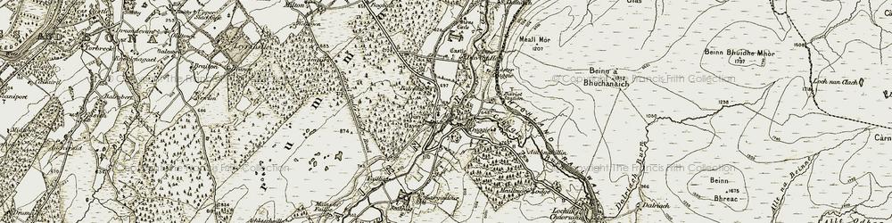 Old map of Daviot in 1908-1912