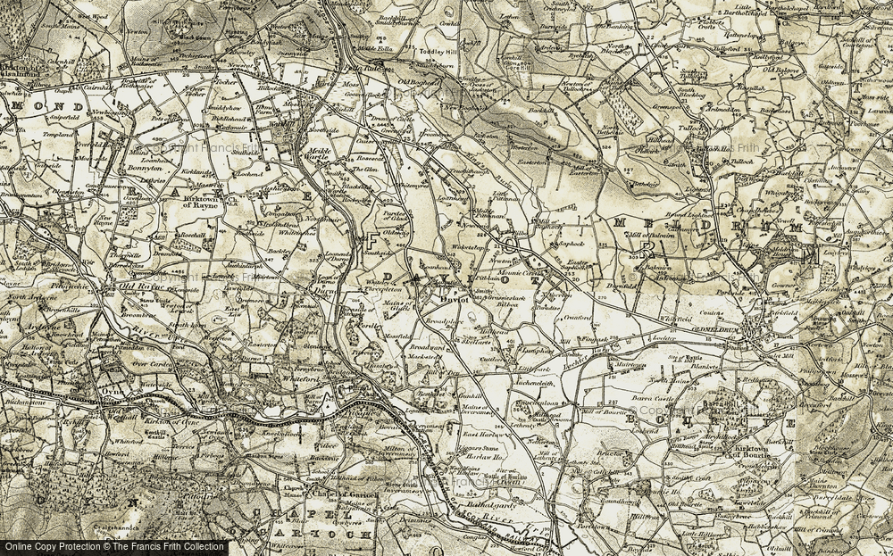 Old Map of Historic Map covering Auchencleith in 1909-1910