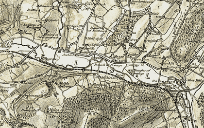 Old map of Auchinhove in 1910