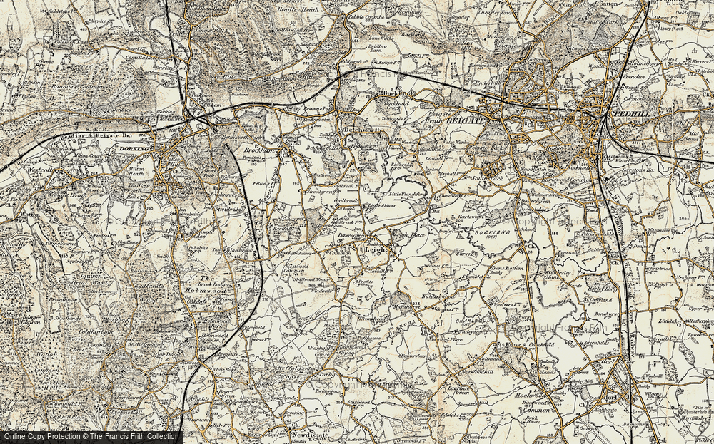 Old Map of Historic Map covering Leigh Place in 1898-1909