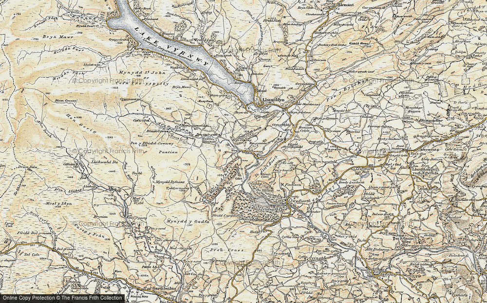 Old Map of Historic Map covering Yr Allt-Boeth in 1902-1903