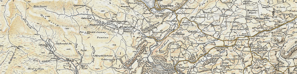 Old map of Afon Cownwy in 1902-1903