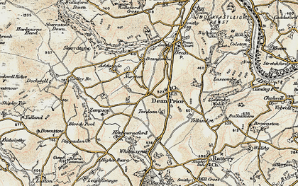Old map of Dean Prior in 1899