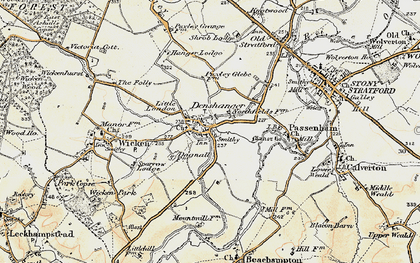 Old map of Deanshanger in 1898-1901