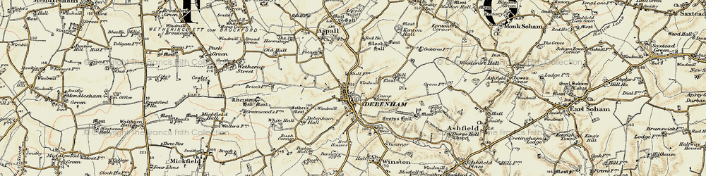 Old map of White Hall in 1898-1901