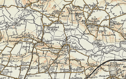 Old map of Dedham in 1898-1899