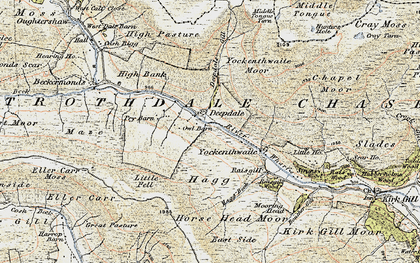Old map of Langstrothdale Chase in 1903-1904