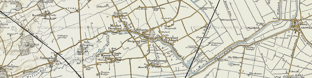 Old map of Deeping St James in 1901-1902
