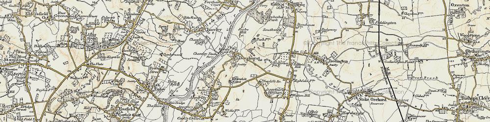 Old map of Deerhurst in 1899-1900