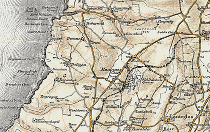 Old map of Delabole in 1900