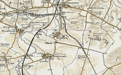 Old map of Denford in 1901-1902
