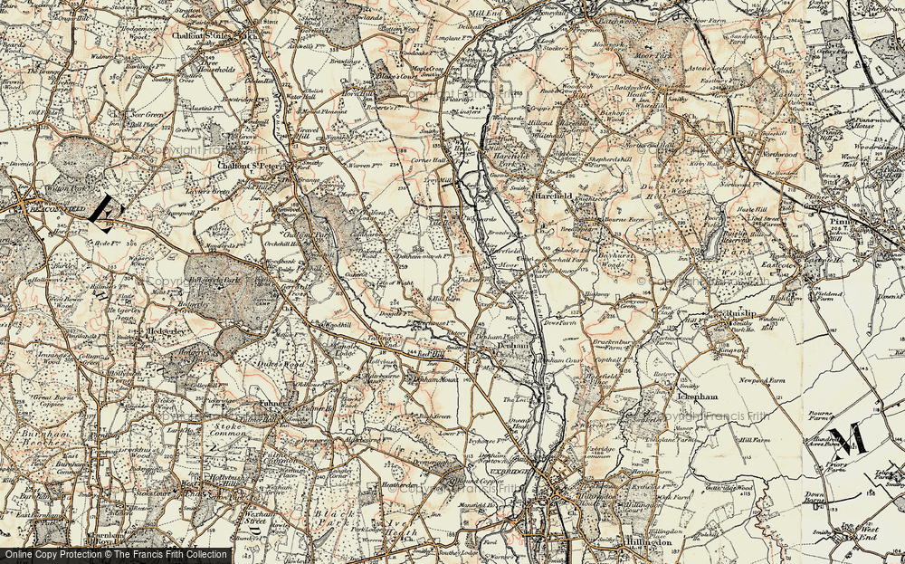Old Map of Historic Map covering Tile Ho in 1897-1898