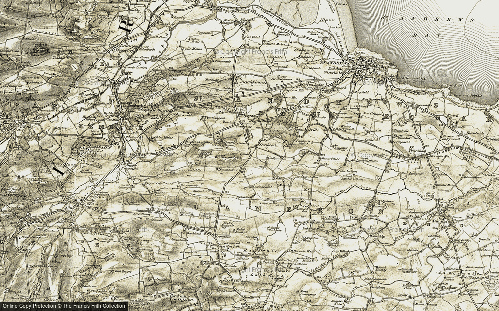 Old Map of Historic Map covering Langraw in 1906-1908