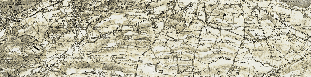 Old map of Wilkieston in 1906-1908