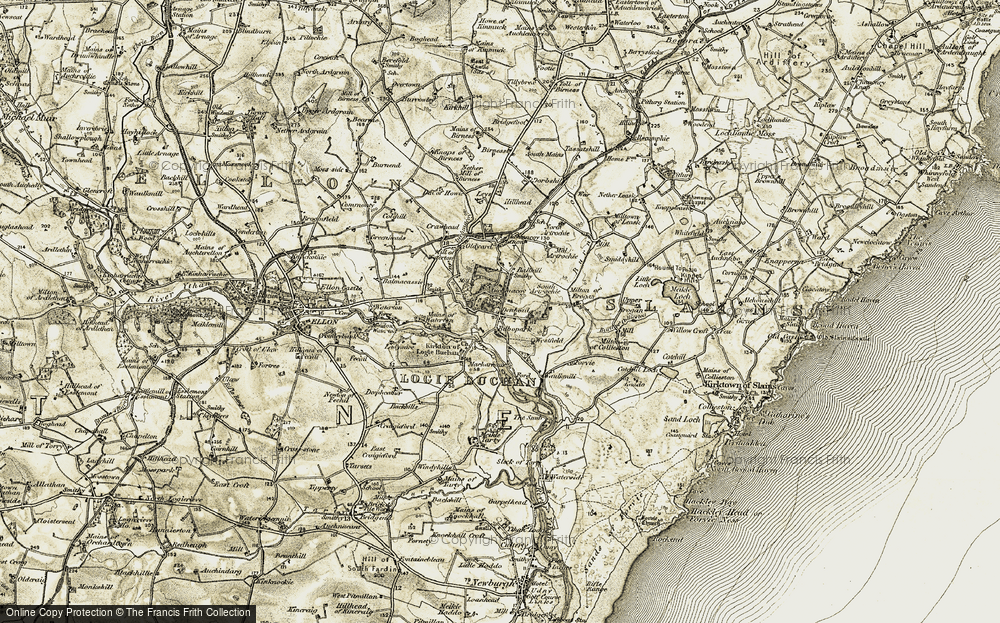Old Map of Historic Map covering Auchmacoy in 1909-1910