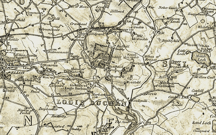 Old map of Auchmacoy in 1909-1910