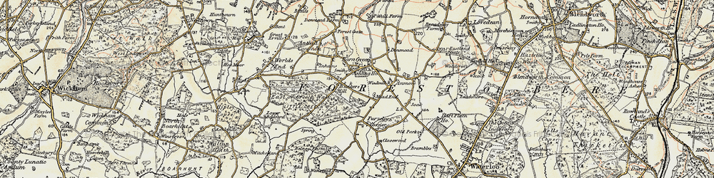 Old map of Denmead in 1897-1899