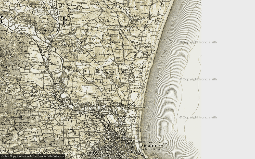 Old Map of Historic Map covering Balgownie Links in 1909
