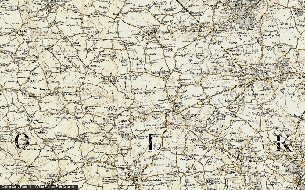 Old Map of Historic Map covering Badingham Ho in 1901