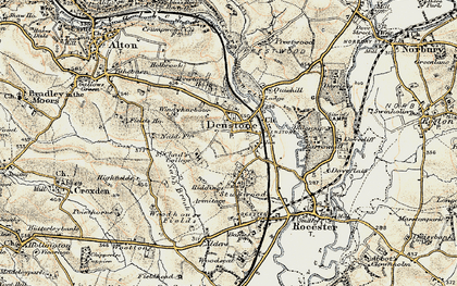 Old map of Denstone in 1902
