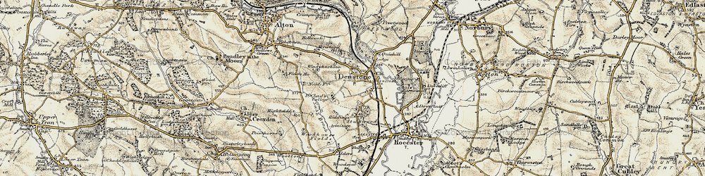 Old map of Denstone in 1902