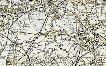 Old map of Denton in 1903