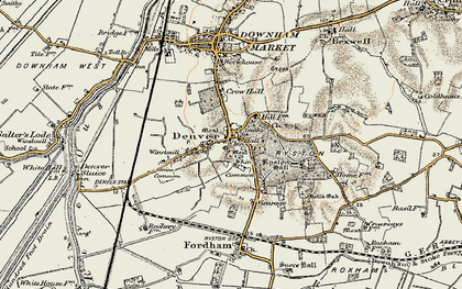 Old map of Whin Common in 1901-1902