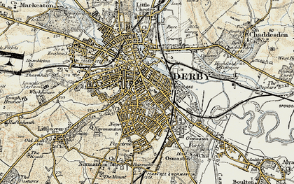 Old map of Derby in 1902-1903