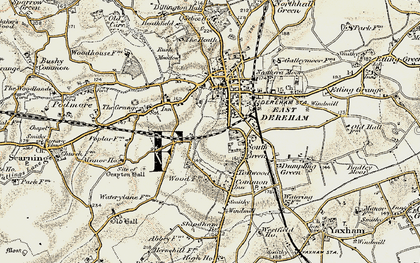 Old map of Dereham in 1901-1902