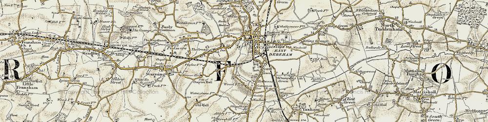 Old map of Dereham in 1901-1902