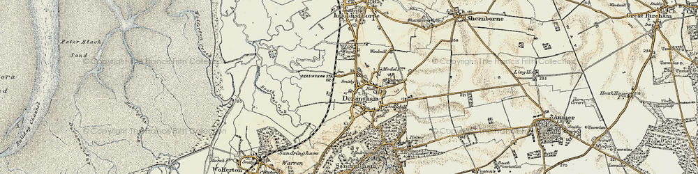 Old map of Dersingham in 1901-1902