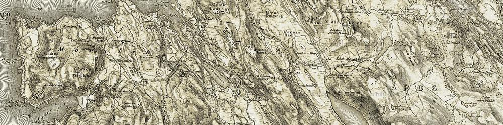Old map of Achnadrish in 1906-1908