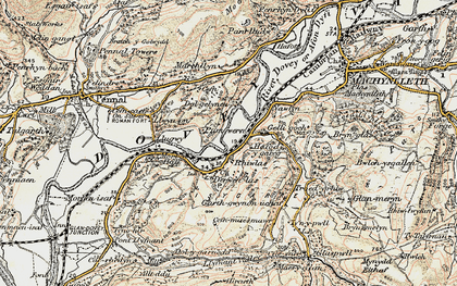 Old map of Derwenlas in 1902-1903