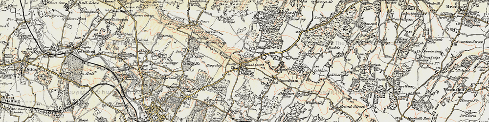 Old map of Detling in 1897-1898