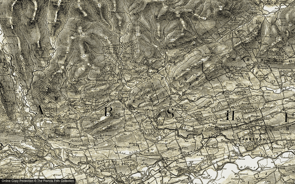 Old Map of Historic Map covering Balquhadly in 1907-1908
