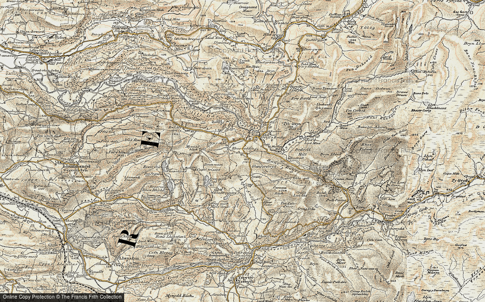 Old Map of Historic Map covering Banc y Bont in 1901-1903