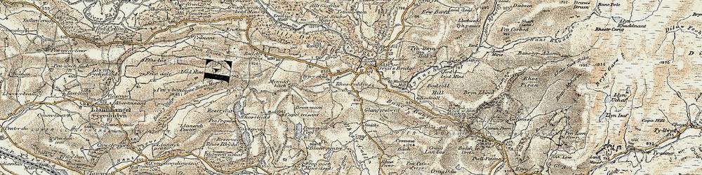 Old map of Devil's Bridge in 1901-1903